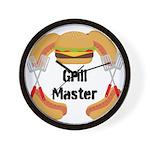 Grill Master Hamburgers Hot Dots Wall Clock