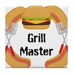 Grill Master Hamburgers Hot Dots Tile Coaster