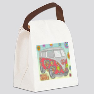 Hippie Van Glass Print Canvas Lunch Bag