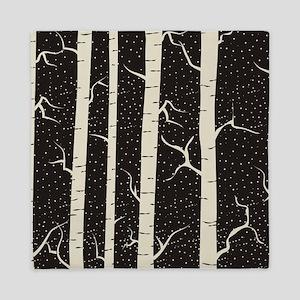 Birch Tree Design Cover In Black And Queen Duvet