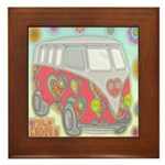Hippie Van Glass Print Framed Tile