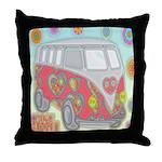 Hippie Van Glass Print Throw Pillow