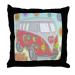Hippie Van Glass Print Throw Pillow