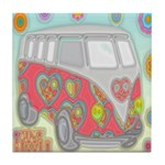 Hippie Van Glass Print Tile Coaster