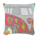 Hippie Van Glass Print Woven Throw Pillow