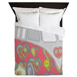 Hippie Van Glass Print Queen Duvet