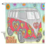 Hippie Van Glass Print Shower Curtain