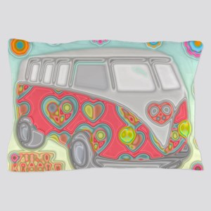 Hippie Van Glass Print Pillow Case