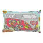 Hippie Van Glass Print Pillow Case