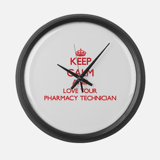 Keep Calm and love your Pharmacy Large Wall Clock