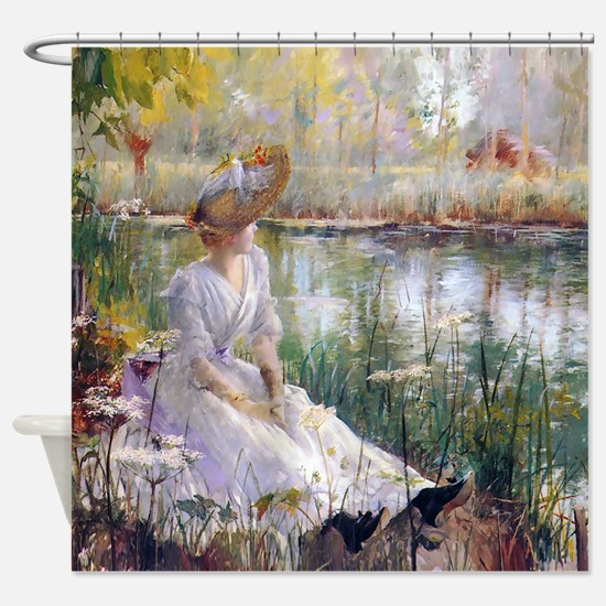 Victorian Day By A River Shower Curtain