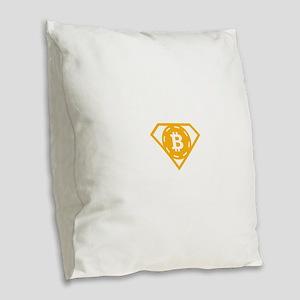 StonefishSays Bitcoin Logo Tee Burlap Throw Pillow