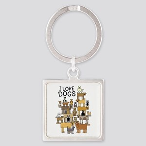 I LOVE DOGS Keychains