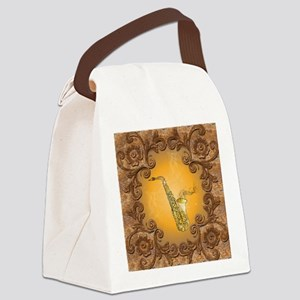 Saxophone with key notes Canvas Lunch Bag