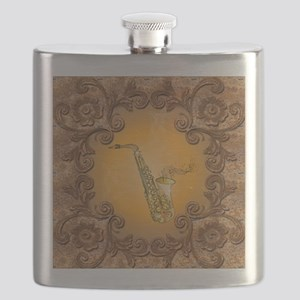Saxophone with key notes Flask