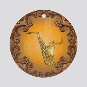Saxophone with key notes Ornament (Round)
