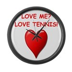 i love tennis Large Wall Clock