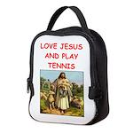 i love tennis Neoprene Lunch Bag
