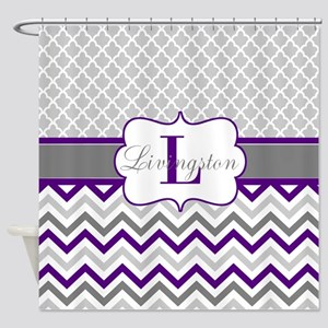 Gray Purple Quatrefoil Chevron Personalized Shower