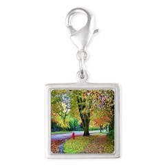 Autumn in Vancouver Silver Square Charm