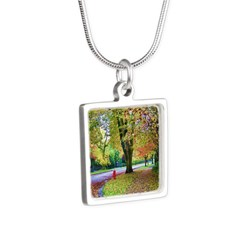 Autumn in Vancouver Silver Square Necklace