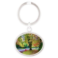 Autumn in Vancouver Oval Keychain