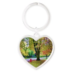 Autumn in Vancouver Heart Keychain