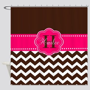 Brown Pink Chevron Personalized Shower Curtain