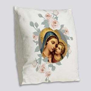 Our Lady of Good Remedy Burlap Throw Pillow