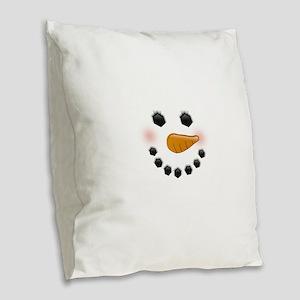 Snow Woman Burlap Throw Pillow