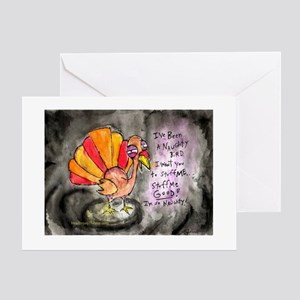 Naughty Thanksgiving Turkey Greeting Cards (Packa