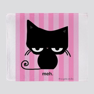 Meh Cat on Pink Stripes Throw Blanket