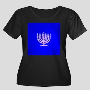 Blue Chanukah Menorah Designer Plus Size T-Shirt