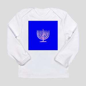 Blue Chanukah Menorah Designer Long Sleeve T-Shirt