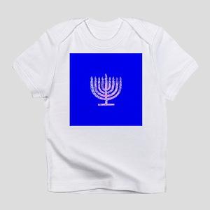 Blue Chanukah Menorah Designer Infant T-Shirt