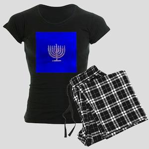 Blue Chanukah Menorah Design Women's Dark Pajamas