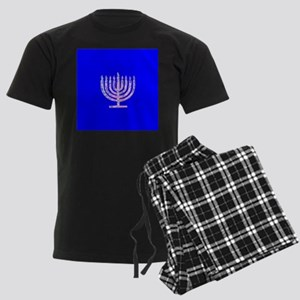 Blue Chanukah Menorah Designer Men's Dark Pajamas
