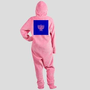 Blue Chanukah Menorah Designer Footed Pajamas