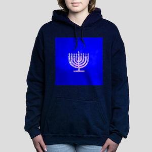 Blue Chanukah Menorah De Women's Hooded Sweatshirt