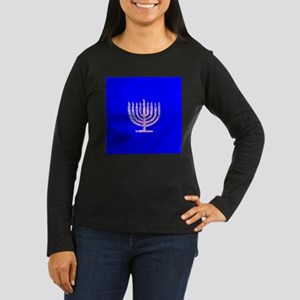 Blue Chanukah Menorah Designer Long Sleeve T-Shirt