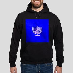 Blue Chanukah Menorah Designer Hoodie (dark)