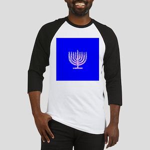 Blue Chanukah Menorah Designer Baseball Jersey