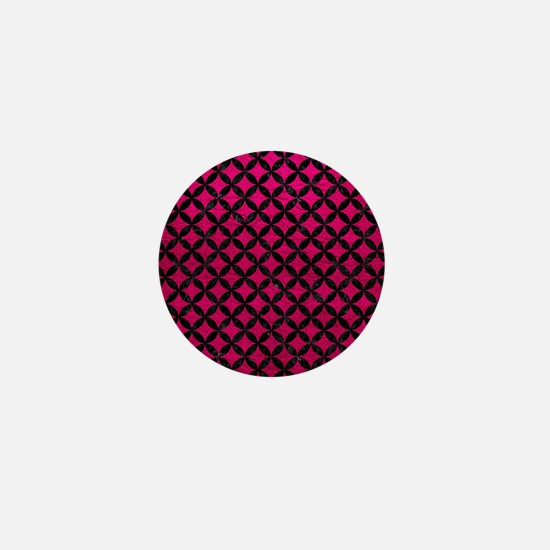 CIRCLES3 BLACK MARBLE & PINK LEATHER Mini Button