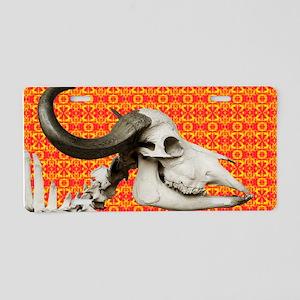 African Buffalo Skull On A Aluminum License Plate