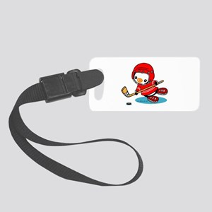 Ice Hockey Penguin (R) Small Luggage Tag