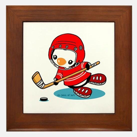 Ice Hockey Penguin (R) Framed Tile