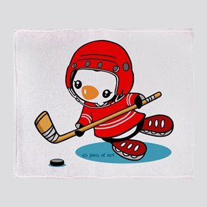 Ice Hockey Penguin (r) Throw Blanket