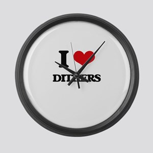 I Love Dithers Large Wall Clock