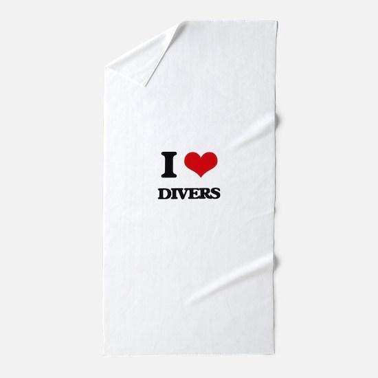 I Love Divers Beach Towel