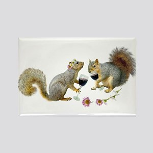 Squirrels Wedding Wine Rectangle Magnet